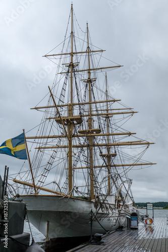 Fotobehang Zeilen Old white sailing ship at port in Karlskrona Sweden