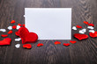 Red hearts and card