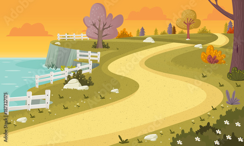 Fotobehang Auto Road on colorful park. Nature background.