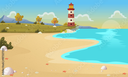 Beautiful beach with blue ocean and trees. - 187327303