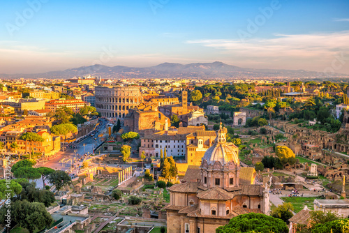 Top view of  Rome city skyline from Castel Sant'Angelo