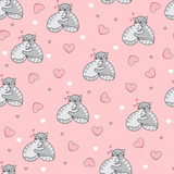 Seamless background with cuddling cats