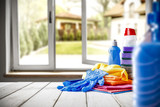 home cleaning background and interior with open window