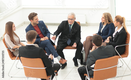 Foto op Canvas Snelle auto s Businessman Leading Meeting At Boardroom