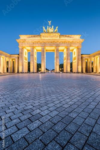 Aluminium Berlijn Brandenburg Gate at night, Berlin, Germany