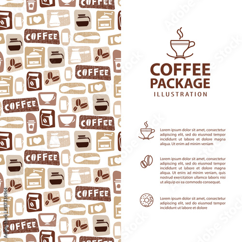 Coffee Menu or Package Concept. Infographics Banner. Vector Icons for Promotion and Advertising Vacation Business