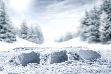 winter background of snow and frost