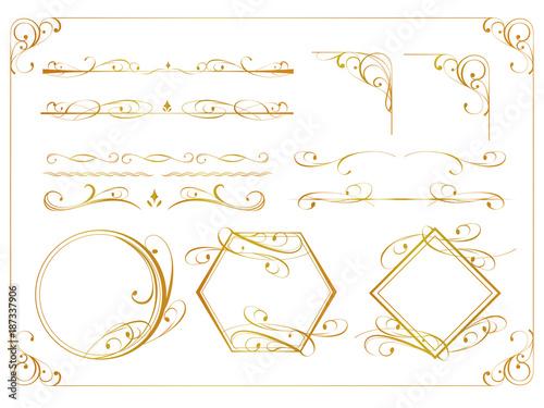 金のアンティーク飾り罫セット