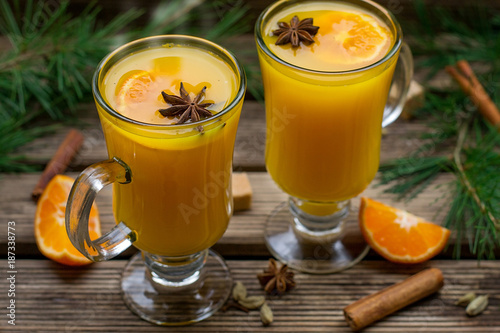 Hot fruit tea with orange, apple, lemon, raisin and spices