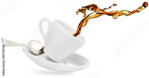 coffee splashing out of a cup isolated on white - 187339786