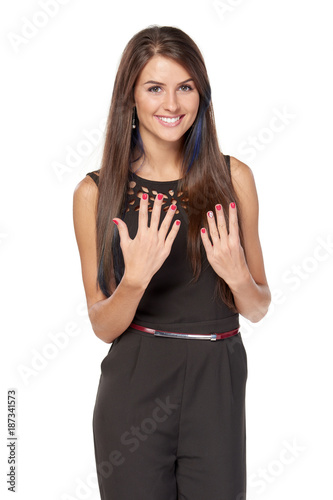 Hand counting - nine fingers. Happy woman indicating the number nine with her fingers