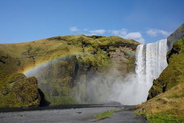 Rainbow over Massive Waterfall