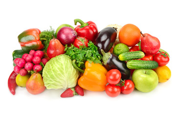 Fruit and vegetable isolated on white background.