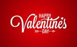 Valentines day vintage lettering on red background - 187343510