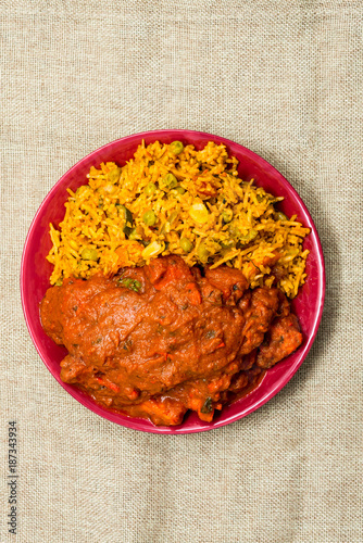Foto Murales Handmade Indian curry chicken rice