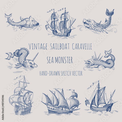 Fototapeta Old caravel, vintage sailboat. Sea monster. Hand drawn vector sketch.