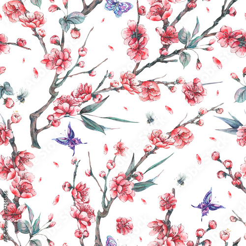 Cotton fabric Watercolor seamless pattern with blooming branches of cherry