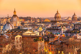 Rome, skyline view at su set from Castel sant'angelo. Italy.
