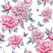 Watercolor seamless pattern pink flowers peonies - 187346336