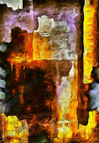 Colorful Abstract Oil Painting - 187347945