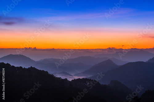 Poster Aubergine Morning sunrise time mountain scenery.