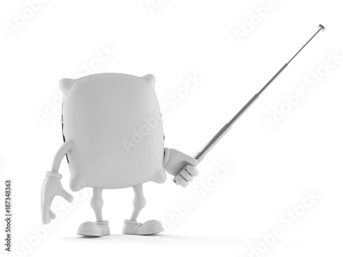 Pillow character holding pointer stick