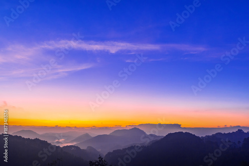 Fotobehang Donkerblauw Morning sunrise time mountain scenery.