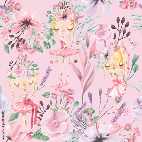 Beautiful watercolor floral seamless pattern with cute ballet girls, ballerinas. Abstract roses, peony, lilacs and branches on pink background - 187348981