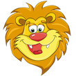 Lions head. Cartoon style. Isolated image on white background. Clip art for children.