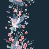 Watercolor seamless border with crane, blooming branches - 187349142