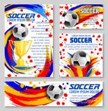 Soccer ball with football winner cup banner design