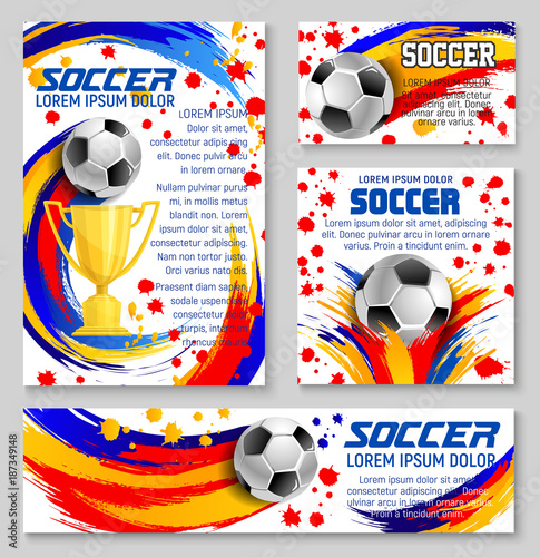 Soccer ball with football winner cup banner design