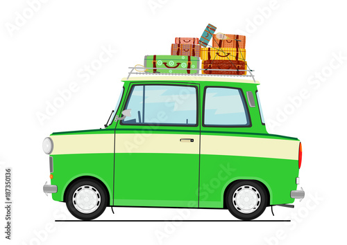 Fotobehang Auto Cartoon car with suitcases on the roof. Side view. Flat vector.