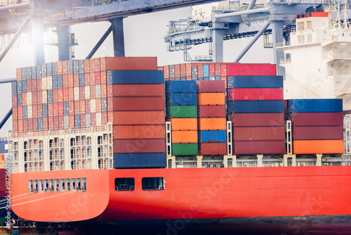 Aluminium Logistics import export concept and transport industry of container cargo freight ship in the Seaport, Freight transportation, Shipping