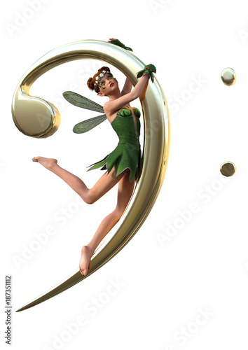 3D Rendering Green Fairy and Music Note on White - 187351112