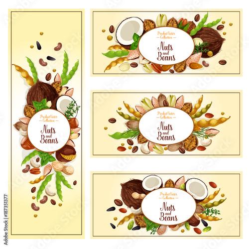 Nuts, bean, seed superfood label set, food design