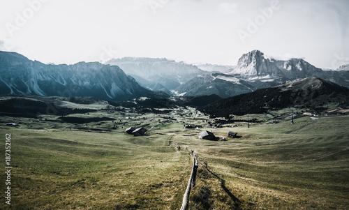 Fotobehang Wit Seceda Alp in Val Gardena South Tyrol - Dolomites