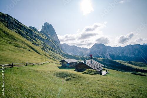 Aluminium Blauwe hemel Seceda Alp in Val Gardena South Tyrol - Dolomites