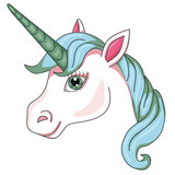 Unicorn's head. Cartoon style. Isolated image on white background. Clip art for children. - 187352725