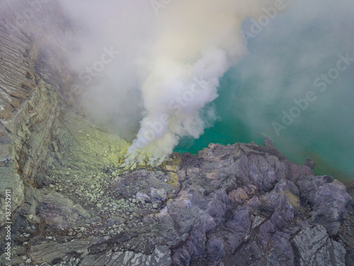 Tuinposter Donkergrijs Aerial view from drone to Kawah Ijen volcano crater with sulfur fume. Ijen crater the famous tourist attraction near Banyuwangi, East Java, Indonesia