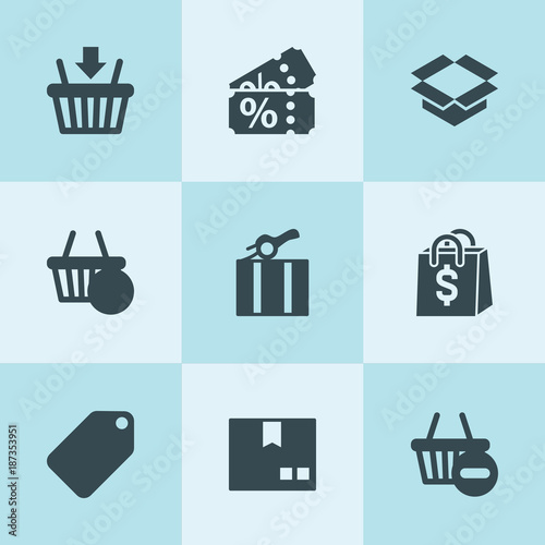 Set of 9 merchandise filled icons