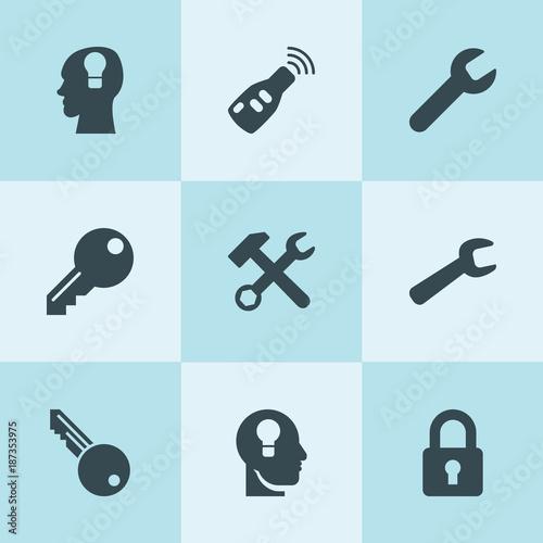 Set of 9 key filled icons