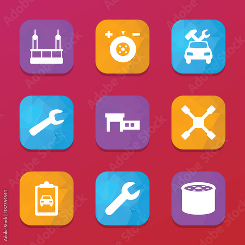Maintenance icons. vector collection filled maintenance icons set.