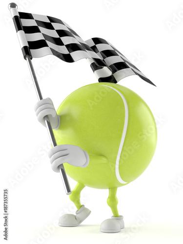 Fototapeta Tennis ball character with racing flag