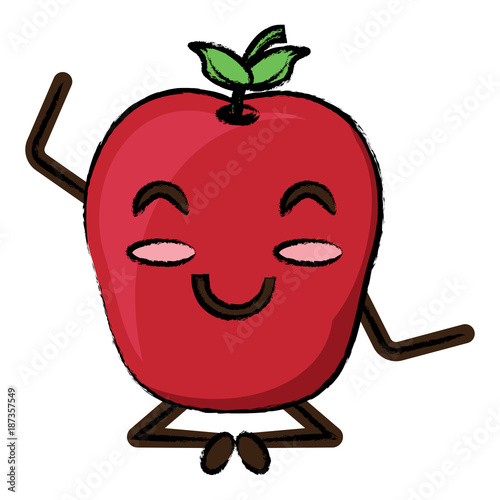 Wall mural kawaii apple icon image
