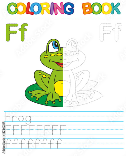 Coloring book alphabet. Educational game for kid. Simple level of difficulty. Restore dashed line and color the picture. Trace game for children.  Letter F. Frog