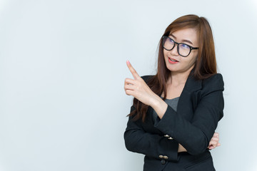 Portrait of beautiful asian businesswoman,Thailand people,secretary young girl,Concept: woman think