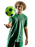 one mixed race young teenager soccer player man playing  in silhouette isolated on white background - 187363561