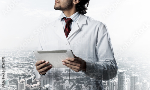 Medical industry concept by means of successful doctor