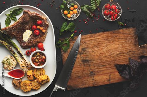 Juicy beef steak served at restaurant - 187364966